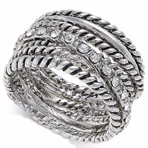 ✨I.N.C. Textured Pavé Statement Ring Silver